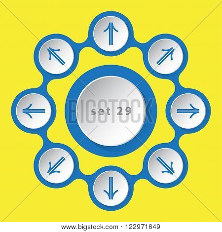 blue white icons with arrows in eight directions on a yellow background