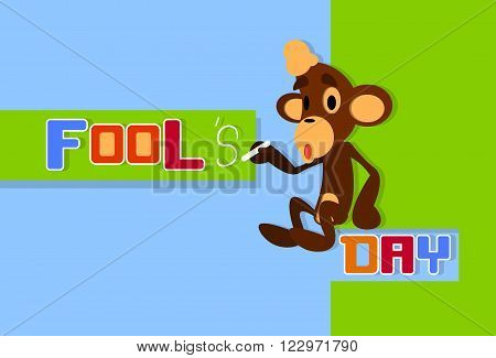 Monkey Holding Chalk Write Fool Day April Holiday Greeting Card Banner Flat Vector Illustration