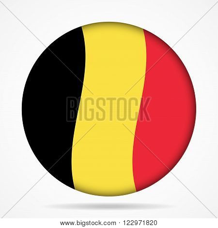button with waving national flag of Belgium and shadow
