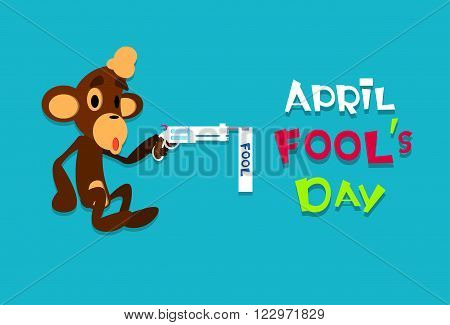 Monkey Holding Gun Pistol Fool Day April Holiday Greeting Card Banner Flat Vector Illustration