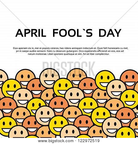 Smile Yellow Faces Fool Day April Holiday Greeting Card Copy Space Banner Vector Illustration