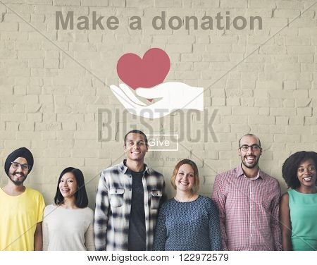 Make a Donation Helping Hands Charity Concept