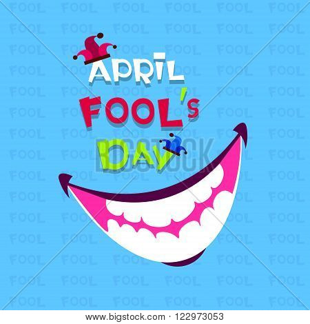 Smiling Mouth First April Fool Day Happy Holiday Greeting Card Flat Vector Illustration