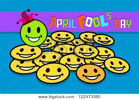 Smile Yellow Faces Fool Day April Holiday Greeting Card Vector Illustration
