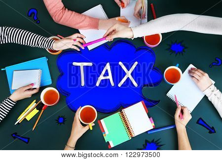 Tax concept. Creative team for work flow on blackboard background top view