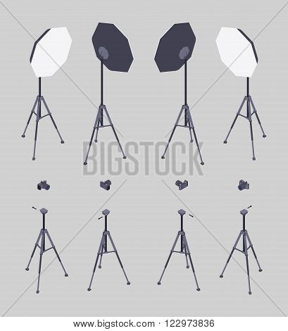 Set of the isometric softboxes, photocameras and tripods. The objects are isolated against the grey background and shown from different sides