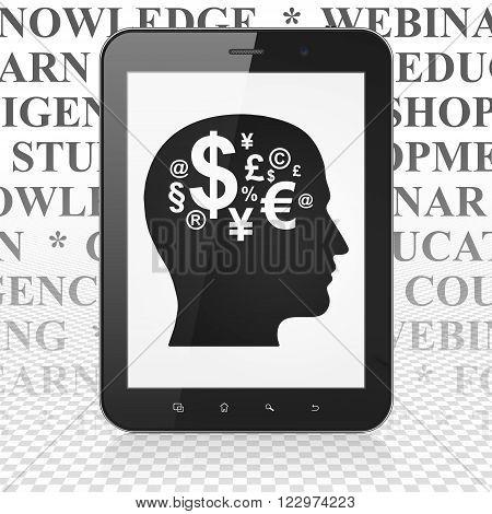 Learning concept: Tablet Computer with Head With Finance Symbol on display