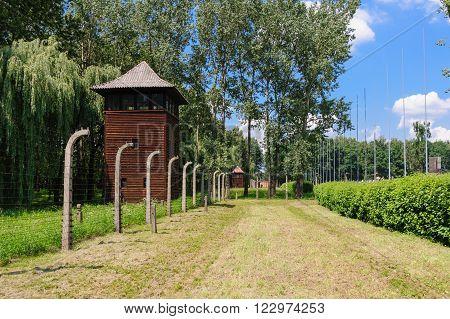 Auschwitz II - Birkenau, large watch tower behind the International Monument