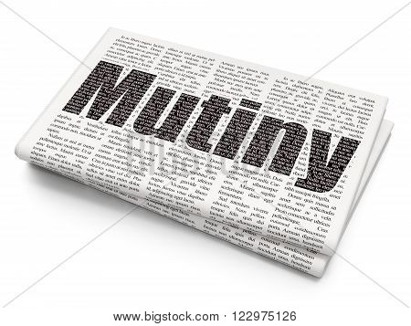 Political concept: Mutiny on Newspaper background