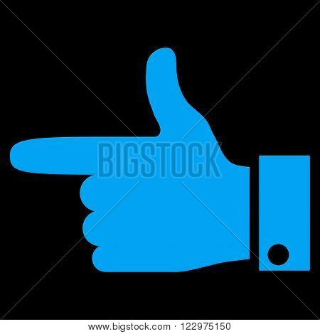Hand Pointer Left vector icon. Style is flat icon symbol, blue color, black background.
