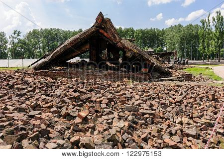Auschwitz II - Birkenau, ruins and part of the roof of the eastern wing of Crematorium II