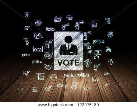 Politics concept: Ballot in grunge dark room