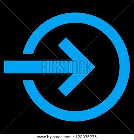 Import vector icon. Style is flat icon symbol, blue color, black background.