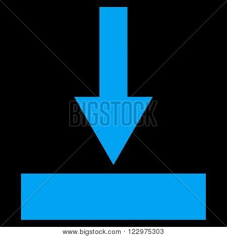 Move Bottom vector icon. Style is flat icon symbol, blue color, black background.