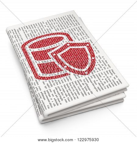 Software concept: Database With Shield on Newspaper background