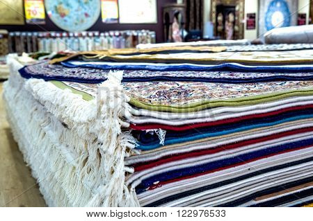 Arabic carpet shop exhibition colorful carpets exposition room