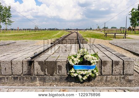 Auschwitz II - Birkenau commemorative wreath placed at the end of the rail tracks