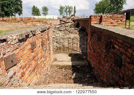 Auschwitz II - Birkenau Crematorium III entrance to the underground disrobing chamber