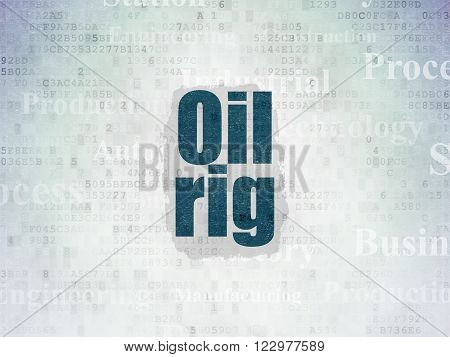 Industry concept: Oil Rig on Digital Paper background