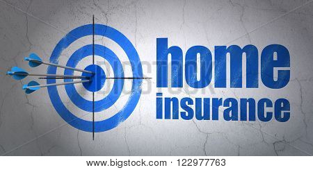 Insurance concept: target and Home Insurance on wall background