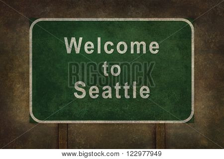 Welcome to Seattle road sign illustration with distressed ominous background