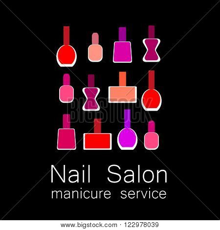 Design sign - nail care. Beauty industry, nail salon, manicure service, spa boutique, cosmetic products. Vector illustration.