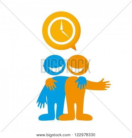 People dialog icon. Talk about time. Time management. Deadline. Plan. Timing. Vector illustration.