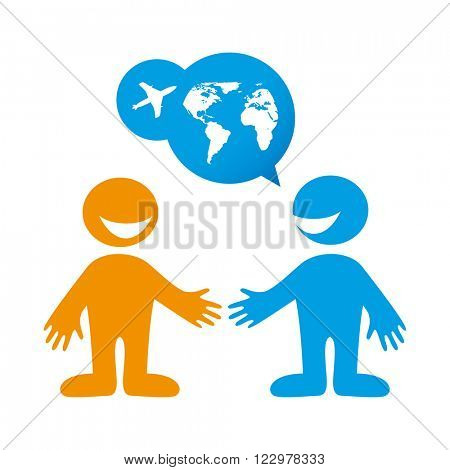 People dialog icon. Travel agent. Travel. Tour operator. Vector illustration.