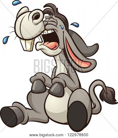 Crying cartoon donkey. Vector clip art illustration with simple gradients. All in a single layer.
