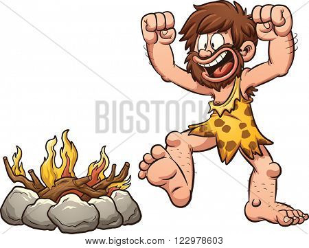 Cartoon caveman discovering fire. Vector clip art illustration with simple gradients. Caveman and fire on separate layer.