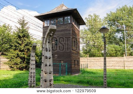 Auschwitz I - Birkenau watch tower and electrified fences at the east corner