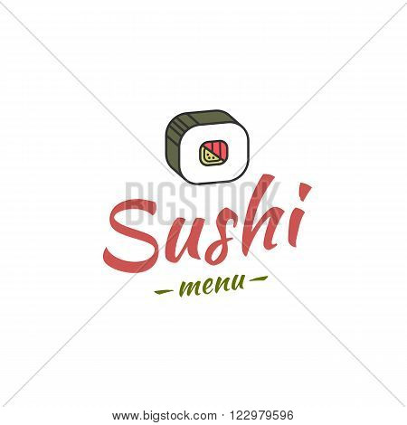 Cover menu template for sushi bar or restaurant. Vector
