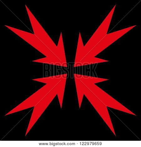 Compression Arrows vector icon. Style is flat icon symbol, red color, black background.