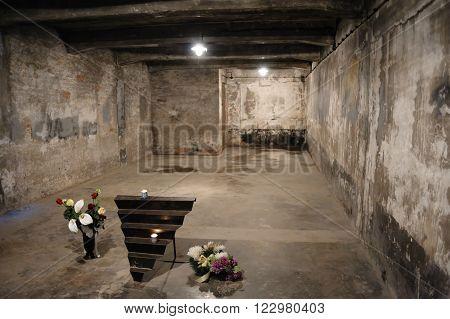 OSWIECIM, POLAND - JULY 3, 2009: Auschwitz I - Birkenau Crematorium I gas chamber considerably changed today from its original configuration