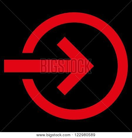 Import vector icon. Style is flat icon symbol, red color, black background.