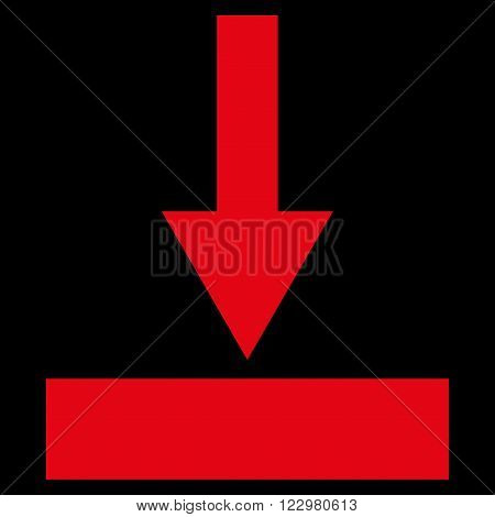 Move Bottom vector icon. Style is flat icon symbol, red color, black background.