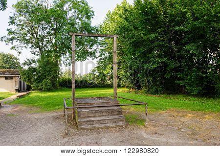 OSWIECIM, POLAND - JULY 3, 2009: Auschwitz I - Birkenau replica of the gallows where camp Commandant Rudolf Hoss was hanged on April 16, 1947
