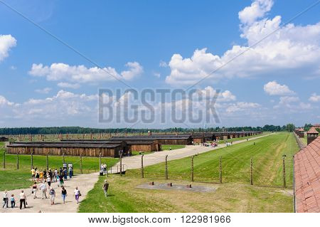 OSWIECIM, POLAND - JULY 3, 2009: Auschwitz II - Birkenau, Sector II as viewed from the Gate of Death watch tower