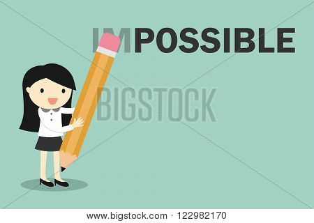 Business concept, Business woman holding pencil erase impossible to possible. Vector illustration.