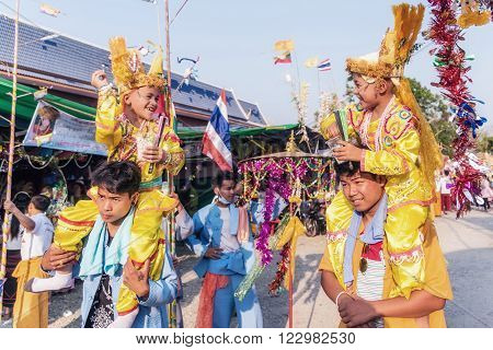 CHIANG MAI THAILAND - MARCH 18 : Poy Sang Long festival A Ceremony of boys to become novice monk In parade around Koo Maan temple on March 18 2016 in Chiang mai Thailand.