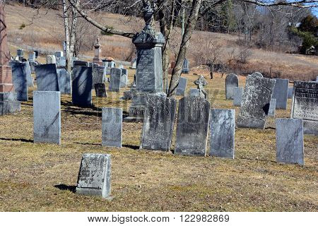 FRELIGHSBURG QUEBEC CANADA MARCH 20 2016: Bishop Stewart Memorial Church cemetery, Also known as Frelighsburg Anglican Cemetery, Holy Trinity Anglican Cemetery