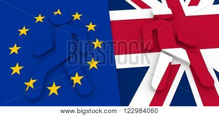 Image relative to politic situation between great britain and european union. Pedestrians icons textured by flags go away. Politic process named as Brexit metaphor. 3D illustration
