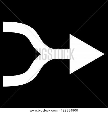 Combine Arrow Right vector icon. Style is flat icon symbol, white color, black background.