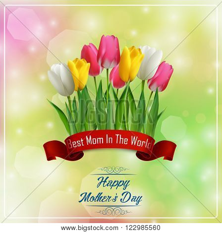 Illustration of Happy Mothers Day with flowers tulips and red ribbon