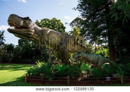 PERTH, WA / AUSTRALIA - MARCH 13: Tyrannosaurus Rex family in Perth Zoo as part of Zoorassic exhibition in March 2016