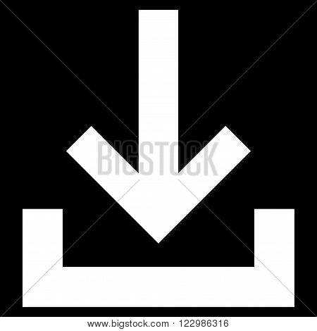 Inbox vector icon. Style is flat icon symbol, white color, black background.