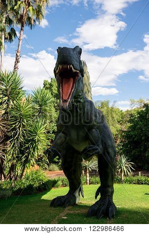 PERTH, WA / AUSTRALIA - MARCH 13: Roaring front standing Spinosaurus display model in Perth Zoo as part of Zoorassic exhibition in March 2016