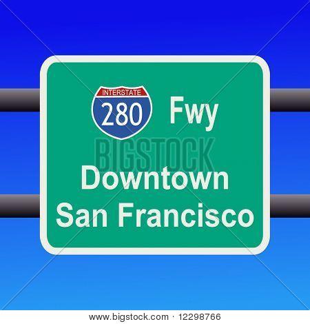 Interestatal 280 a San Francisco firmar ilustración