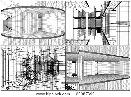 Abstract Constructions Structure Of Line Illustration Vector