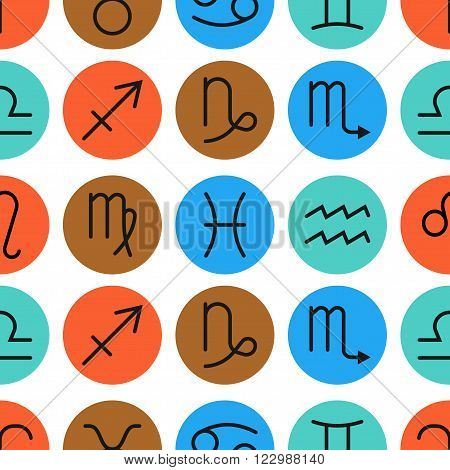 Seamless pattern of zodiac signs for horoscopes, predictions. Vector illustration